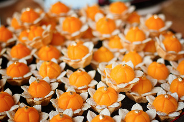closeup artificial thai desserts.