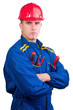 Young handsome mechanic with hard hat and tools