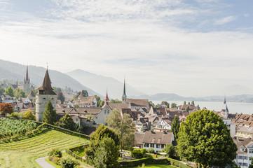 Stadt Zug, Altstadt, Zugersee, Aussichtspunkt, Sommer, Schweiz
