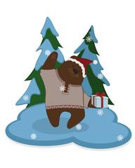 Cute bear cartoon. winter