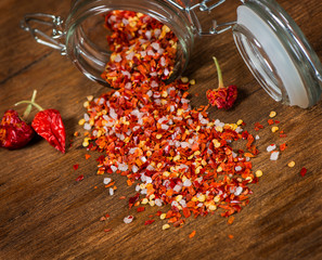 Whole and crushed red pepper