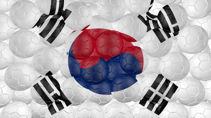 Soccer balls is falling down and forming a south korea flag