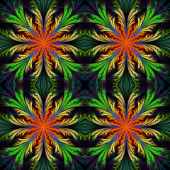 Beautiful pattern from fractal flowers. Orange and green palette