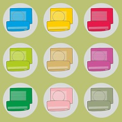 fully editable vector illustration of coloured air conditioners