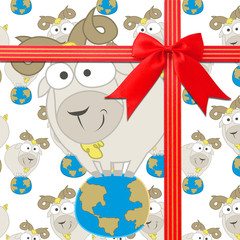 Baby Goats stand on Earth  seamless pattern