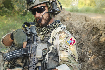 American Soldier with his rifle