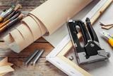 Artist canvas in roll, canvas stretcher, staple gun and paintbru - 73475795