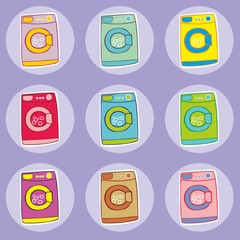 fully editable vector illustration of washing machines