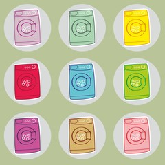 fully editable vector illustration of washing machines