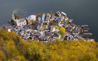 Autumnal Hallstatt from above - salt Mines