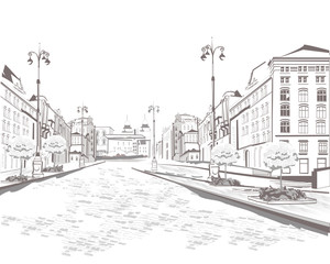 Series of street views in the old city, sketch