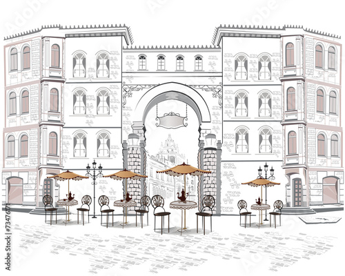 Series of street views with cafes in the old city - 73476171