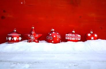 Weihnachtsdekoration - rot / weiß