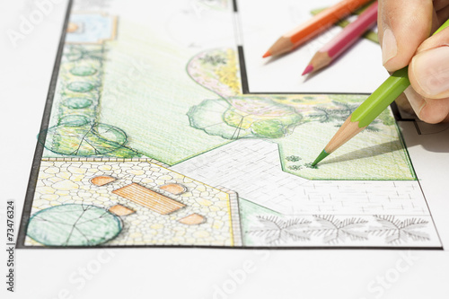 Leinwanddruck Bild Landscape architect design garden plan