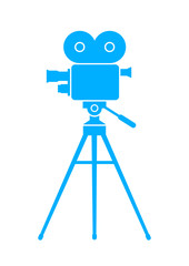 Blue movie camera on white background