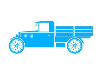 Blue truck on white background