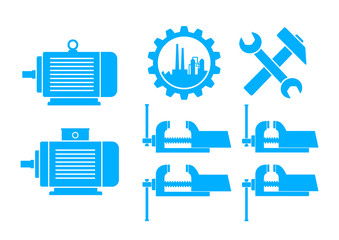Blue industrial icons on white background