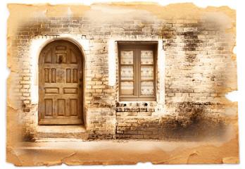cartolina vintage con porta e finestra