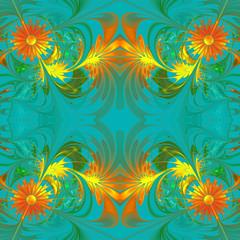 Flower pattern. Orange and blue palette. Fractal design. Compute