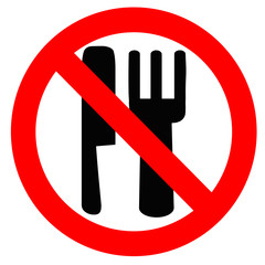 No Eating Allowed Sign Over White