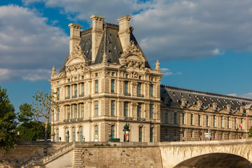 View from the River Seine to Paris, palace and embankment, Franc