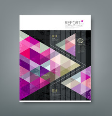 Cover report triangle geometry purple for business design