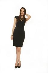 Frau in schwarzem,edlen Kleid