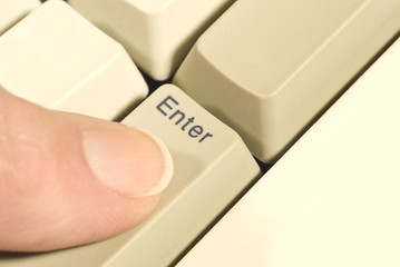 Finger Pressing ENTER Key