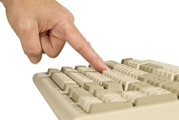 Finger Pressing Keyboard Key Isolated On White
