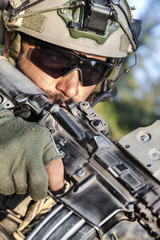 American Soldier aiming his rifle