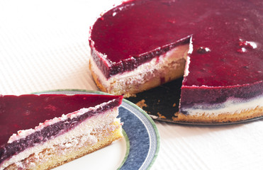 Delicious creamy pound cake with fruit gelatin and currant