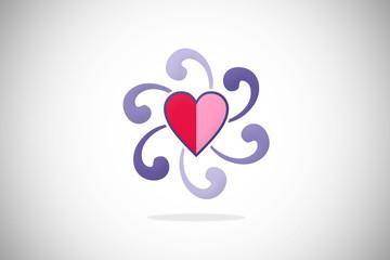 love abstract heart circle swirl design logo