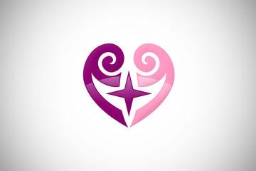 love heart swirl star purple abstract design logo