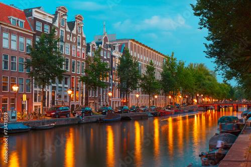 Aluminium Amsterdam Night city view of Amsterdam canal and bridge
