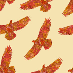 Seamless decorative tribal pattern with eagles. Vector illustrat