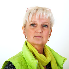 Middle-aged woman with serious look