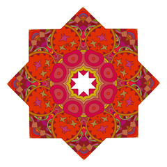 Red mandala with floral print isolated on a white background. Ve
