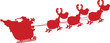 Red Silhouettes Of Santa Claus In Flight With His Reindeer