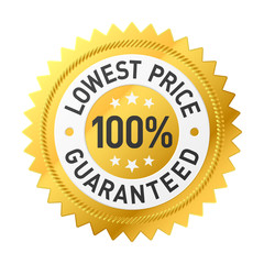 100% lowest price guaranteed sticker