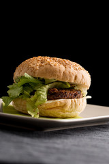 Tasty Burger with Vegetarian Rissoles and Lettuce