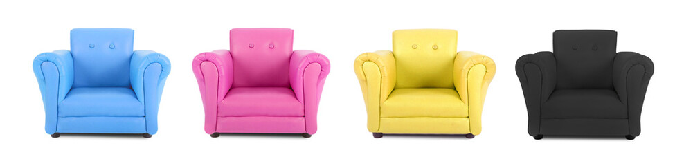 Four armchairs with the colors of four-color process