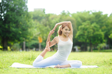Young sport girl do yoga