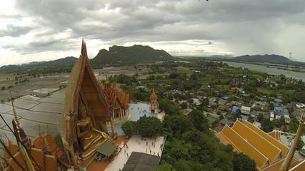 Wat Tiger Cave Temple, Kanchanaburi, Thailand. Time Lapse
