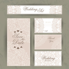 Wedding set of invitation, thank you card, save the date cards