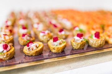 Vegetable canapes with salmon