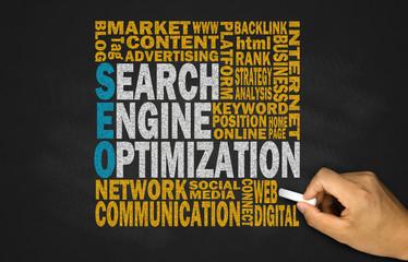 search engine optimization concept on blackboard