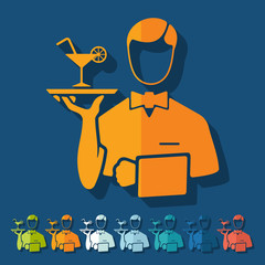 Flat design: waiter