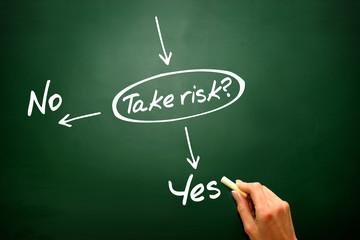 Vector concept take the risk or not on blackboard, presentation