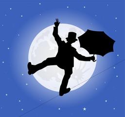 silhouette di funambolo sotto il chiaro di luna