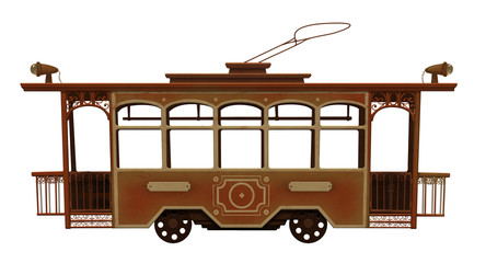 Old red toy tram on white background